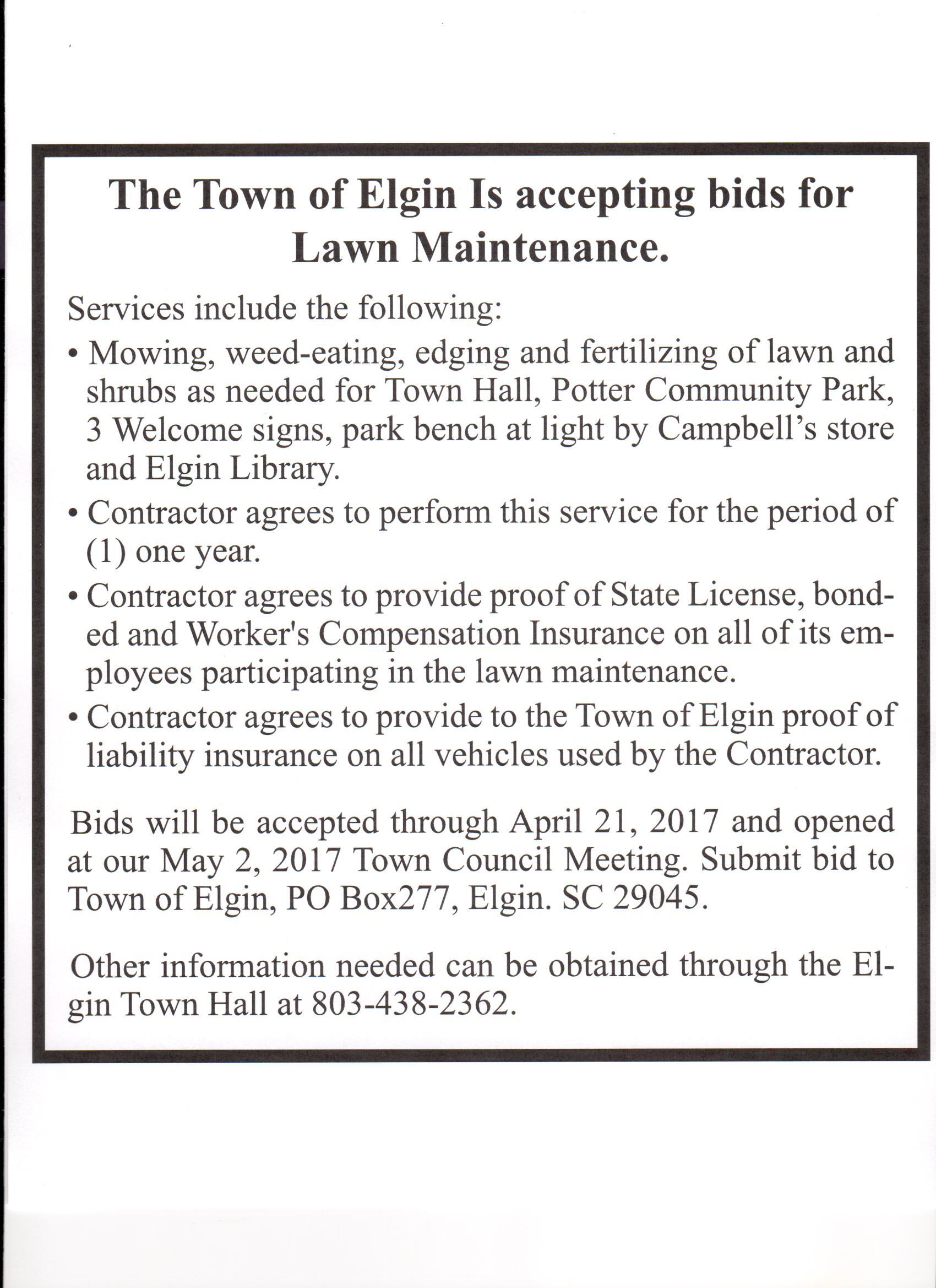 THE TOWN OF ELGIN IS ACCEPTING LANDSCAPING BIDS — Town of Elgin ...